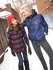 Gorgeous twinks Brent Lockhart and Kevin Carson are having a explosion playing in the snow black gay schoolboys twinks