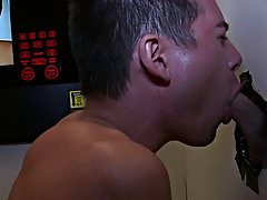 Gay athletic blowjob and twink deep blowjob jizz