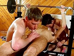 He gets some salami from both, deep-throating them off as he gets his own penis played with, but his caboose is gonna be theirs too before he's b