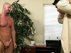 After face fucking and eating his ass, Mitch copulates Spencer hard on the desk, in the chair, and even in doggy on the floor gay hunk gangbangs at My