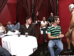 Straight chubby men kissing straight chubby men and twinks bubble butt in jeans at Sausage Party
