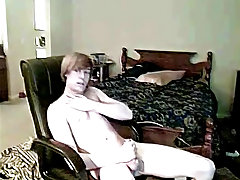Gay twink slave gets shaved and male solo cum in mouth picture - at Boy Feast!