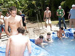 There is nothing like a nice summer time splash, especially when the pool is man made and ghetto rigged as fuck male tickling groups