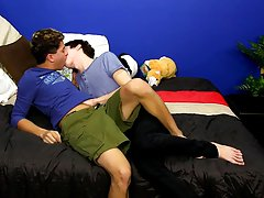They two suck each others uncut dongs previous to Angel receives Kyler bent over the daybed to fuck him from behind first time experience gay