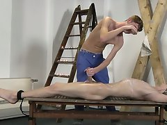 Teen gay guy cum in his hair and first...
