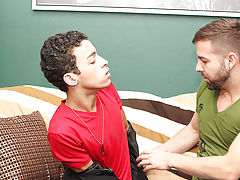 Dustin sits on it, takes it doggystyle, and ends up blowing his load whilst Preston copulates him missionary gay kissing free interracial at I'm