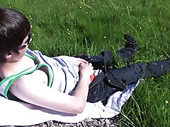 Matt gets conspicuous and jacks his cock in assorted positions male sex in outdoors