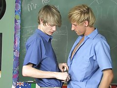 He demonstrates by stuffing his teacher's cock in his mouth which quickly turns into a lesson on how useful his cute little twink ass is too gay