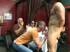Gay male strip groups and gay group fuck at Sausage Party