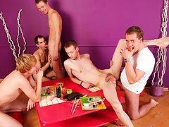 Gay group masturbation and guy group sex...