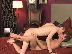 Dustin Revees and Preston Andrews are both gorgeous twinks males first anal strap on