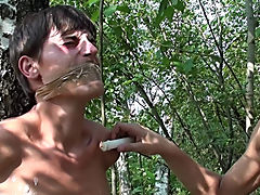 Bound and Waxed Friend gay male outdoor sex