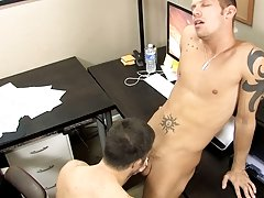 The men taste each other's meat before Tristan takes control and bends Shane over the desk to fuck him gay hairy bears at My Gay Boss