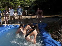 I mean its not embarrassing enough playing naked in a nasty fake pool guys gay group sex
