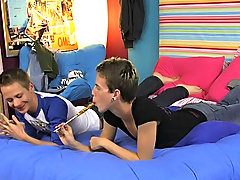 Dustin and Vince are sitting on the bed and the boys look sweet and flirtatious together as they slice that long lollipop straight guys first time se