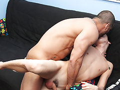 He face-fucks the small chap with his uncut pecker and eats his ass, but that is just the warm up hardcore gay masturbating at Bang Me Sugar Daddy