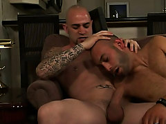 Nathan is about to get his asshole plowed by Sam Speedy's imposing cock while he gets his mouth filled to the brim through Armando's massive