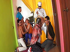 Amazing party group male masterbation at Crazy Party Boys
