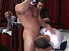 Macho straight men gay sex and emo twink toilet tube at Sausage Party