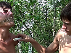 Bound and Waxed Friend gay outdoor sex voyeur men