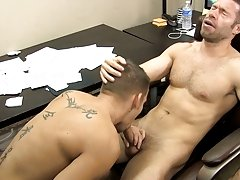 The desk squeaks along with Shane's groans as Tristan drills his booty with his thick dick