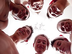 Your Christmas elves are Caleb, Donavan, Justin, Jake, Landon and Cameron and Eric young gay group sex at Broke College Boys!