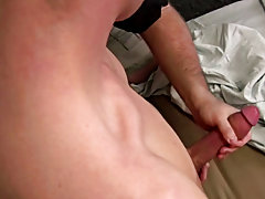 After he lay down he really started moaning and it wasn't long until he exploded his cum load all over like a white geyser of red hot cum hot guy