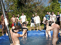 these poor pledges had to play blind folded in this hole in the ground filled with water naked men fucking in group