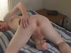 He pulls on his cock and teases the head of it while slipping a manipulate deep into his tight ass ma