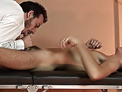Watch the twink's cock shoot abroad treacly milk as the doctor was working on his frying victim virgin naked boy