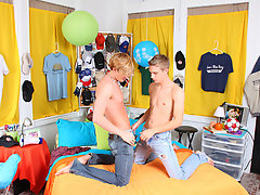In the end, the very depraved pair scrubs some cum crazy of Gabriel's chest with the lollipop and he sucks it dry first gay porno