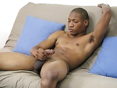 As he kept wanking off, Jamal stood up with one foot on the futon, his dick slowly getting harder muscular gay black men