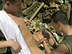 In a wood cutter's yard Fischer puts down his chopper great enough to shag fair muscled Ermann nude men outdoors