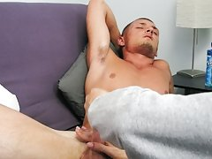 I loved feeling him shudder and cum hard exploding his cream across his body up onto his chest for me gay masturbation each other