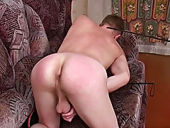 After a while, the guy can relax on a soft sofa and please himself spanking male lean nice body