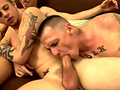 Putting the straight porn on, the three guys stripped off then sat down on the futon and started stroking their cocks naked guy groups