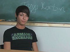 He's a good interview and is totally forthcoming when sharing low-down first time male masturbatio at Teach Twinks