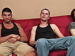 Finally, Matt's legs couldn't take the position any longer and he hopped off Rocco gay group cock sucking