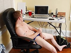 He jerks it hard while watching some hot guys on his computer then jumps on the bed and shoots off work loads of sentimental Cum male masturbation gui
