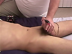 I didn't mess around, I pulled out my tens unit and put those crocodile clips right below the head of his cock and began to give him a mild tingl