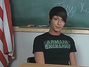 Lovely young twink pornstar Trey Korbin is sitting at a desk wearing a t-shirt and looking totally hot twink gay nude at Teach Twinks