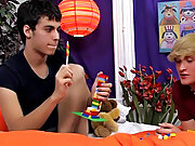 Legal young gay twinks lick cum facial and young...