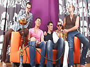 Male male tickling groups and group pissing guys at Crazy Party Boys
