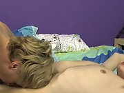 Blond in blue nude short hair and young twink with...
