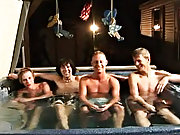 We got 4 boys: Tanner, Dakota, Tommy, and Josh all in the lubricous tub, ready to make it one hell of a advocate group gay shower