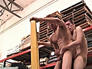 The two are lifted up off the ground on the forklift where they continue to go at it like the horn dogs they are red head gay twinks